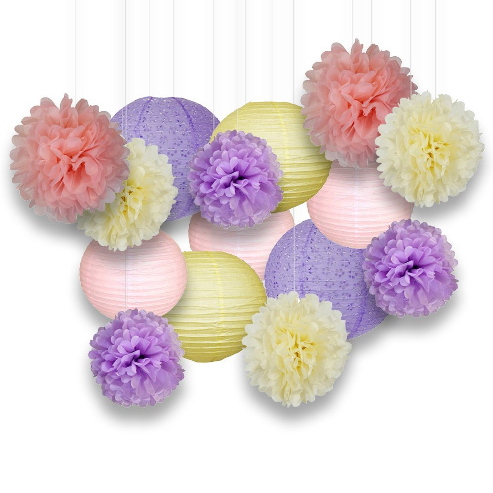Decorative Paper Party Kit (15pcs Kit, Yellows/Pinks/Purples/Ivory Lanterns and Poms) - Premier