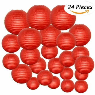 Decorative Round Chinese Paper Lanterns 24pcs Assorted Sizes (Color: Dark Red)