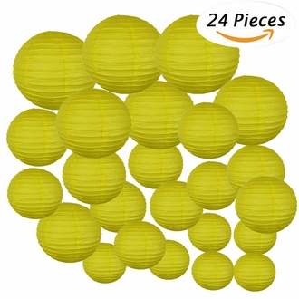 Decorative Round Chinese Paper Lanterns 24pcs Assorted Sizes (Color: Lemon Yellow)