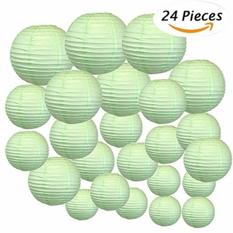 Decorative Round Chinese Paper Lanterns 24pcs Assorted Sizes (Color: Mint)