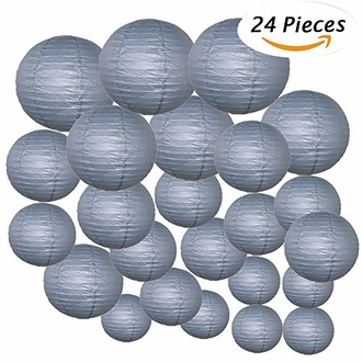 Decorative Round Chinese Paper Lanterns 24pcs Assorted Sizes (Color: Slate Gray)
