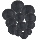 Decorative Round Chinese Paper Lanterns Assorted Sizes (12pcs, Black)