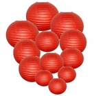 Decorative Round Chinese Paper Lanterns Assorted Sizes (12pcs, Dark Red)