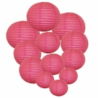 Decorative Round Chinese Paper Lanterns Assorted Sizes (12pcs, Flamingo Pink)