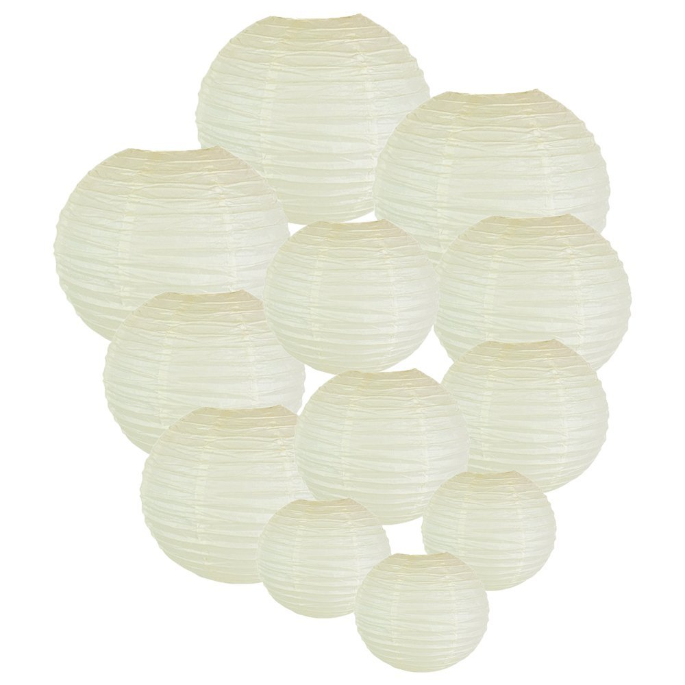 Decorative Round Chinese Paper Lanterns Assorted Sizes (12pcs, Ivory)