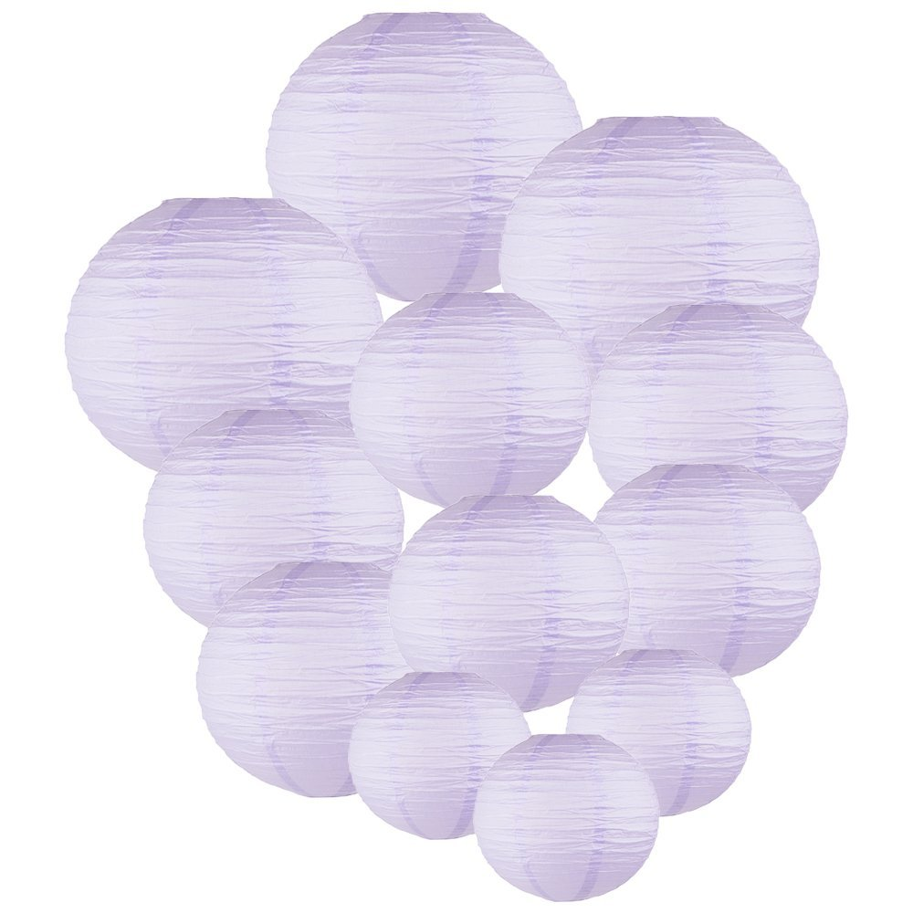 Decorative Round Chinese Paper Lanterns Assorted Sizes (12pcs, Lavender)