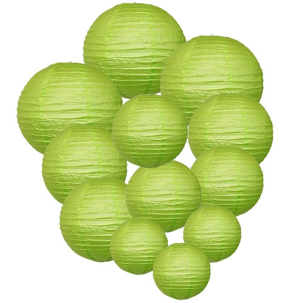 Decorative Round Chinese Paper Lanterns Assorted Sizes (12pcs, Light Green)