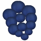 Decorative Round Chinese Paper Lanterns Assorted Sizes (12pcs, Navy Blue)