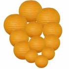 Decorative Round Chinese Paper Lanterns Assorted Sizes (12pcs, Orange)