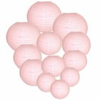 Decorative Round Chinese Paper Lanterns Assorted Sizes (12pcs, Pale Pink)