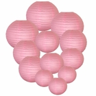 Decorative Round Chinese Paper Lanterns Assorted Sizes (12pcs, Pink)