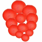 Decorative Round Chinese Paper Lanterns Assorted Sizes (12pcs, Red)