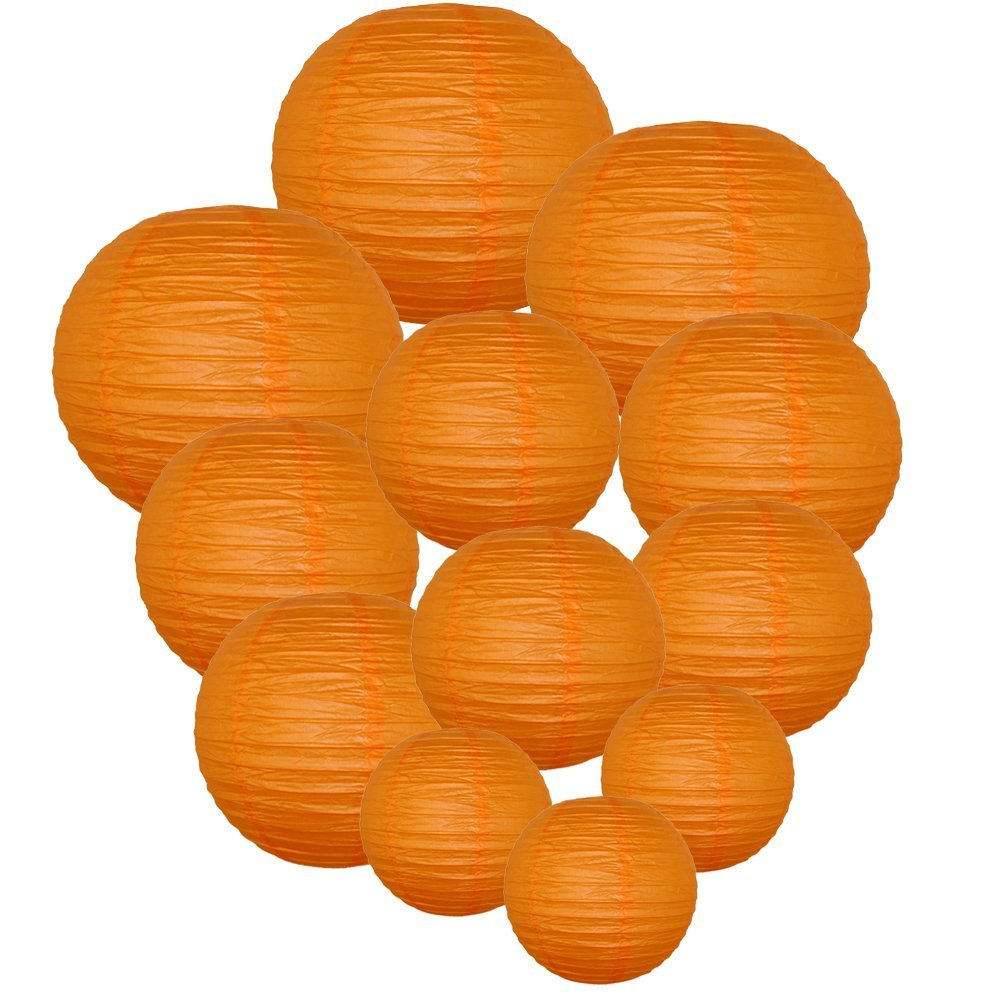 Decorative Round Chinese Paper Lanterns Assorted Sizes (12pcs, Red Orange)