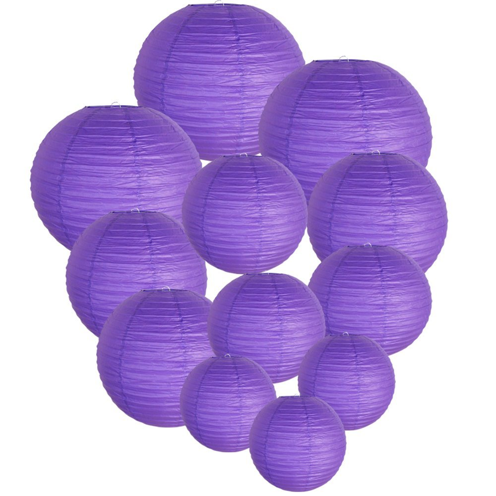 Decorative Round Chinese Paper Lanterns Assorted Sizes (12pcs, Royal Purple)