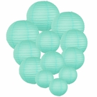Decorative Round Chinese Paper Lanterns Assorted Sizes (12pcs, Seafoam)