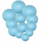 Decorative Round Chinese Paper Lanterns Assorted Sizes (12pcs, Sky Blue)