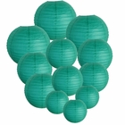 Decorative Round Chinese Paper Lanterns Assorted Sizes (12pcs, Teal Blue Green)