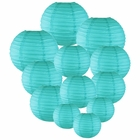 Decorative Round Chinese Paper Lanterns Assorted Sizes (12pcs, Turquoise)