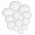 Decorative Round Chinese Paper Lanterns Assorted Sizes (12pcs, White)