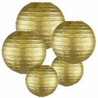 Decorative Round Gold Chinese Paper Lanterns (Assorted Sizes: (2) 8inch, (2) 12inch, (1) 16inch)