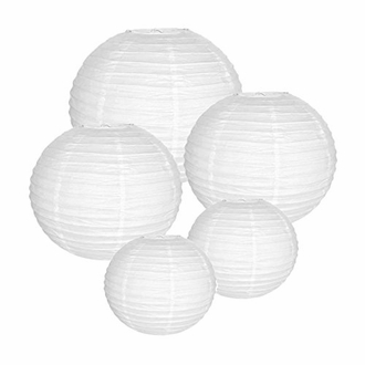 Decorative Round White Chinese Paper Lanterns (Assorted Sizes: (2) 8inch, (2) 12inch, (1) 16inch)