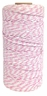 ECO Bakers Twine 110yd 12Ply Striped Light Pink