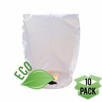 ECO Wire-Free Flying Chinese Sky Lanterns (Set of 10, Eclipse, White)