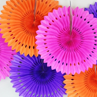 Eyelet Tissue Fan 8inch Orange