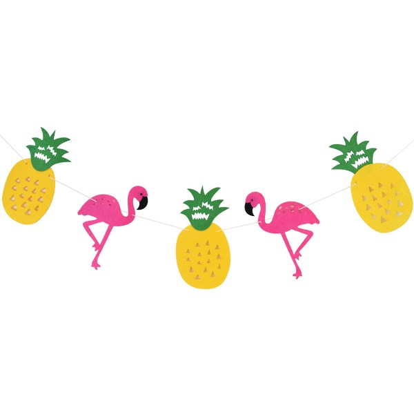 Flamingo and Pineapple Theme Felt Garland Kit with LED Lights