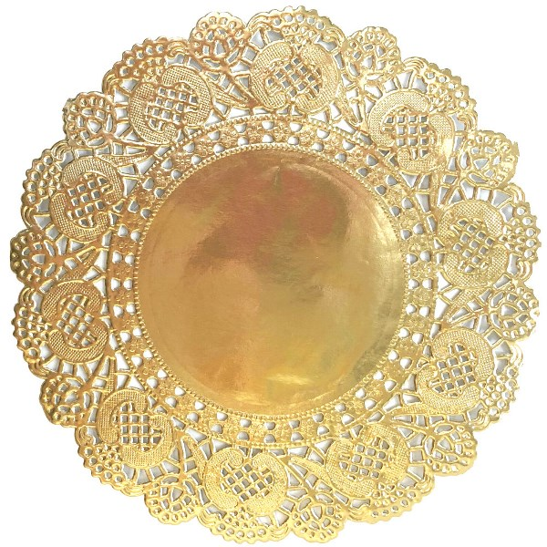 "Floral Lace Paper Doilies 25pcs 6.5"" Metallic Gold"