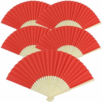 "Folding Paper Hand Fans 8.25"" (5 pcs, Red)"