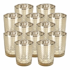 "Glass�Votive�Candle Holder 2.75""H�(12pcs,�Lattice Gold)"