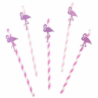 Glitter Flamingo Flock Pink Paper Straw Pack 10pcs