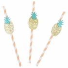 Glitter Pineapple Peach Paper Straw Pack 6pcs