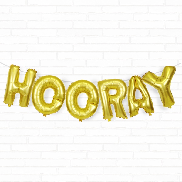 "Gold Hooray 16"" Foil Balloon Decorating Kit"