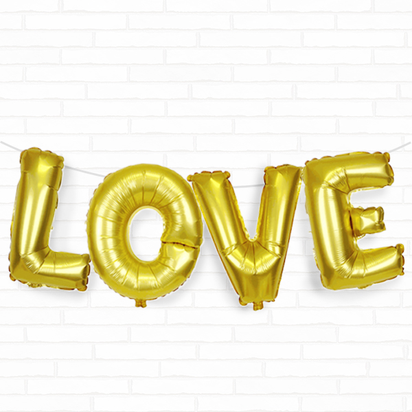 "Gold Love 16"" Foil Balloon Decorating Kit"