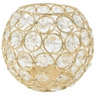 Gold Round Crystal Votive Candle Holder 4in