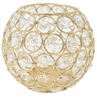Gold Round Crystal Votive Candle Holder 5in