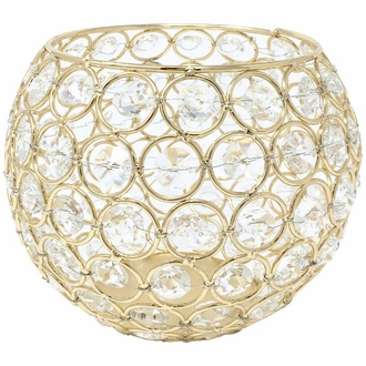 Gold Round Crystal Votive Candle Holder 6in