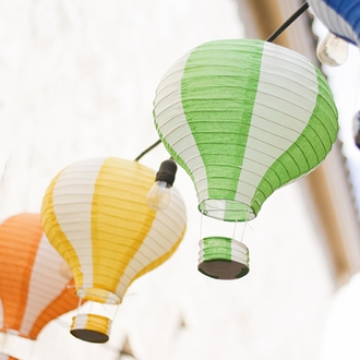 Green and White Hot Air Balloon Paper Lantern 12in
