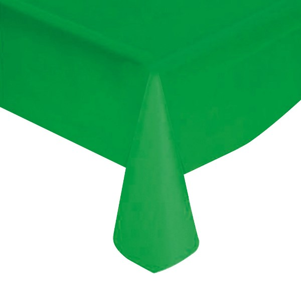 "Green Solid Plastic Tablecloth 54"" X 108"""