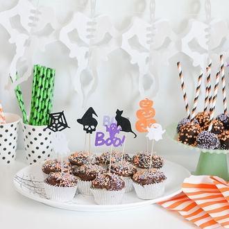 Halloween Cake Topper Kit Skull and Witch Hat 4pcs