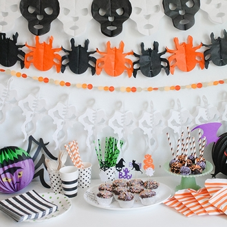 Halloween Expanding Tissue Garland Spiders