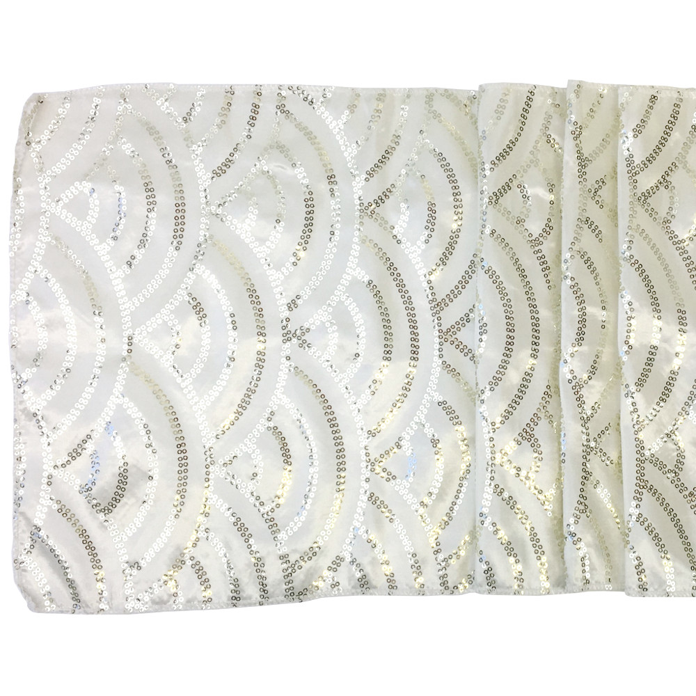 Ivory Mermaid Scale Sequin Table Runner