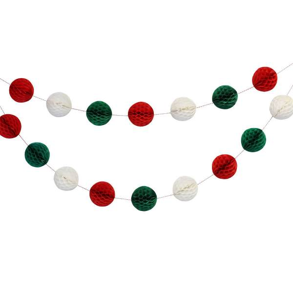 Jingle Bells Mini Honeycomb Ball Garland Decorating Kit