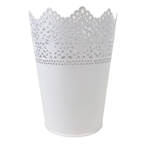 Lace Detail Metal Bucket 65in White