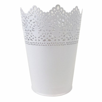 Lace Detail Metal Bucket 6.5in White