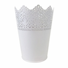 Lace Detail Metal Bucket 6in White