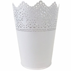 Lace Detail Metal Bucket 7.5in White