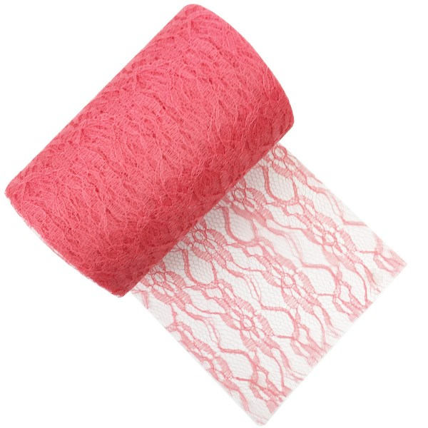 Lace Fabric Roll 6in Coral